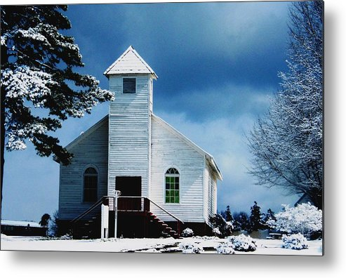 Landscape Metal Print featuring the photograph Chuch In The Snow by Nick Sikorski