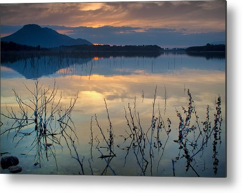 Sunset Metal Print featuring the photograph Clouds On The Pink Water by Guido Montanes Castillo