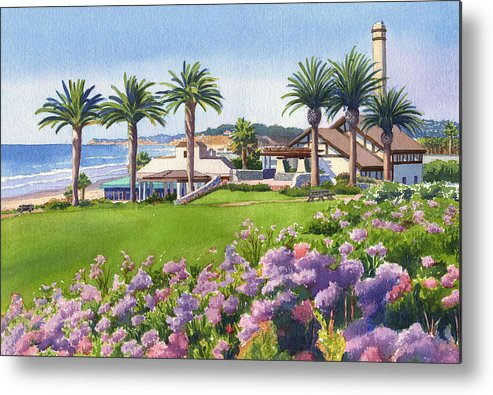 Community Center Metal Print featuring the painting Community Center At Del Mar by Mary Helmreich