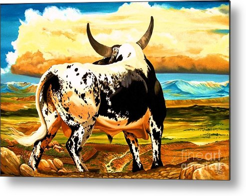 Bucking Bulls Metal Print featuring the painting Contemplated Journey by Cheryl Poland