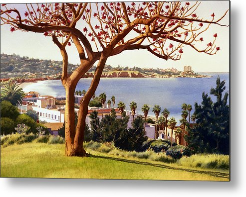 Coral Tree Metal Print featuring the painting Coral Tree With La Jolla Shores by Mary Helmreich