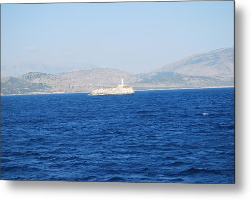 Corfu Channel Metal Print featuring the photograph Corfu Channel Lighthouse by George Katechis