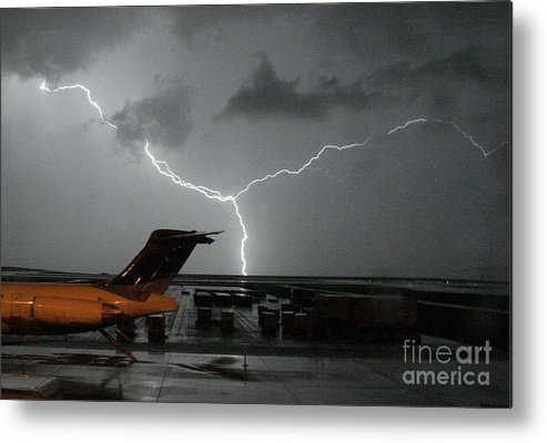 Lightning Metal Print featuring the photograph Denver Airport by J L Woody Wooden