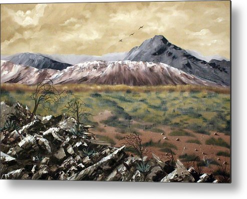 Mountains Metal Print featuring the painting Desert Mountains by Vickie Black