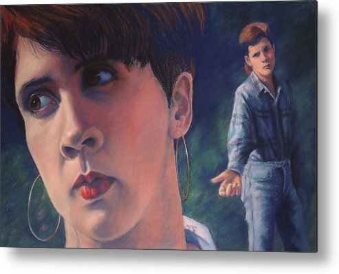Message Metal Print featuring the painting Don't Look Back by Mary Knape