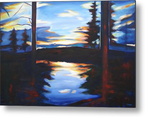 Sunset Metal Print featuring the painting Evening View by Sheila Diemert