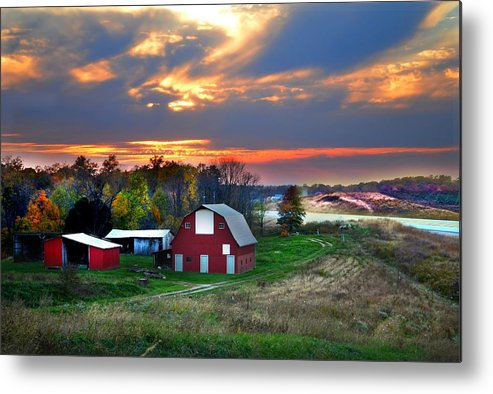 Farms Metal Print featuring the photograph Farmstead At Sunset by Julie Dant
