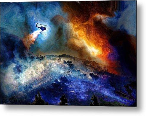 Helicopter Metal Print featuring the digital art Firefight by Cary Shapiro