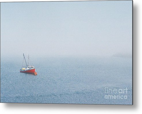 Boat Metal Print featuring the photograph Fishing Boat In Fog by Mary and Curt Johnston