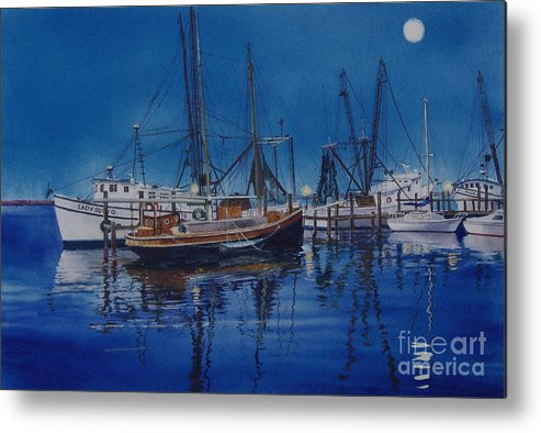 Night Metal Print featuring the painting Fishmoon by Karol Wyckoff