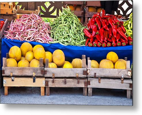 Fresh Metal Print featuring the photograph Fresh Organic Fruits And Vegetables At A Street Market by Leyla Ismet
