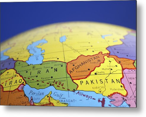 Global map of iran iraq afghanistan pakistan metal print by donald globe metal print featuring the photograph global map of iran iraq afghanistan pakistan by donald erickson gumiabroncs Gallery