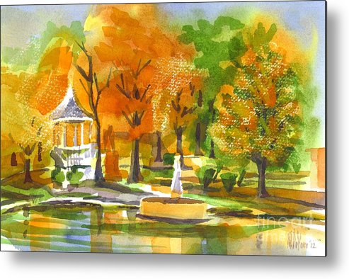 Golden Autumn Day Metal Print featuring the painting Golden Autumn Day by Kip DeVore