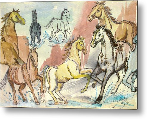 Horses Metal Print featuring the painting Golden Mare by Carol Oufnac Mahan