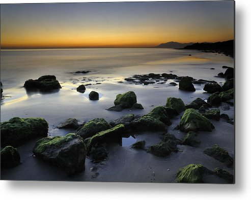 Sunset Metal Print featuring the photograph Green Rocks At Sunset by Guido Montanes Castillo