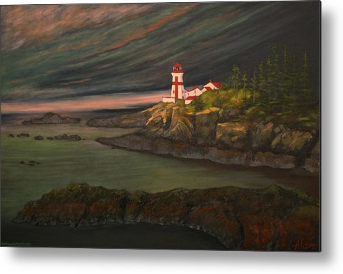 Lighthouse Metal Print featuring the painting Head Harbour East Quoddy Light by Alison Barrett Kent
