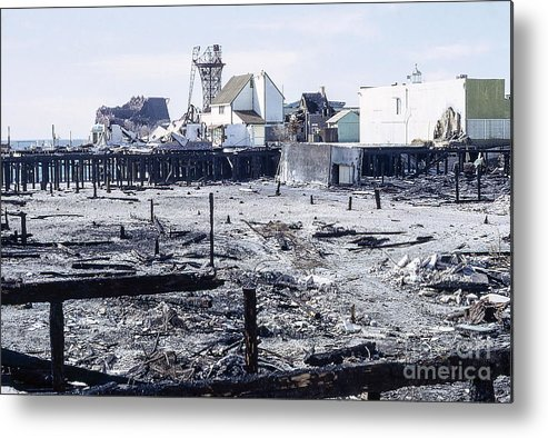 The Old Venice California Pier Burned Down - Home To Lawrence Welk's Tv Show. Metal Print featuring the photograph Historic Venice Pier In California Burned Down Over 40 Years Ago - Home To Lawrence Welk's Tv Show. by Robert Birkenes