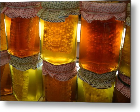 Jars Of Honey Metal Print featuring the photograph Homemade Honey by Michael Reese