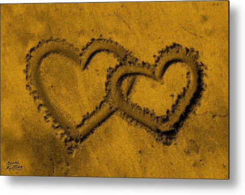 Sand Metal Print featuring the painting I Love You In The Sand by Bruce Nutting