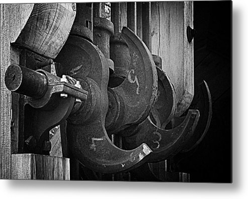 Black And White Metal Print featuring the photograph Iron And Wood by Mick Burkey