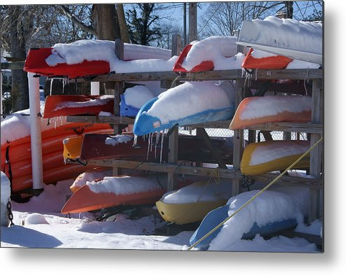 Kayaks Metal Print featuring the photograph Kayaks And Icicles by Margie Avellino