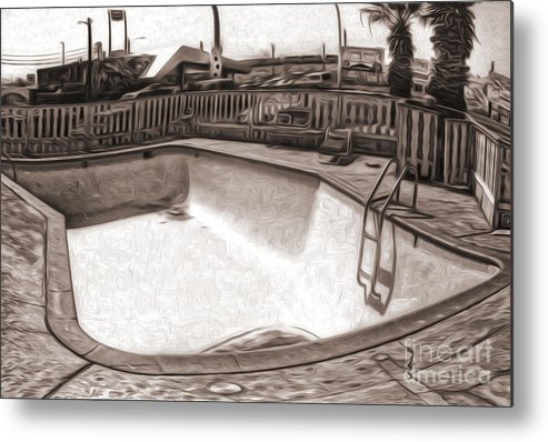 The Desert Metal Print featuring the painting Kiva Motel - Empty Pool by Gregory Dyer
