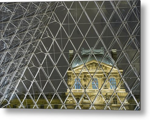 Louvre Pyramid Metal Print featuring the photograph Looking Out Of The Pyramid To The by Ian Cumming