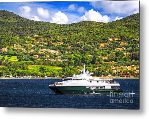 Yacht Metal Print featuring the photograph Luxury Yacht At The Coast Of French Riviera by Elena Elisseeva