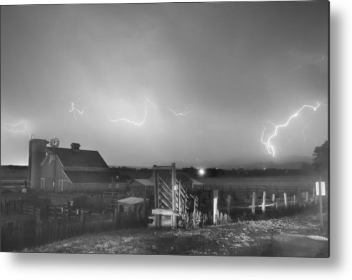 Lightning Metal Print featuring the photograph Mcintosh Farm Lightning Thunderstorm View Bw by James BO Insogna