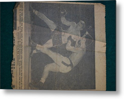 Split Decision Metal Print featuring the photograph Me Fighting Bill Waits 1954 by Robert Floyd