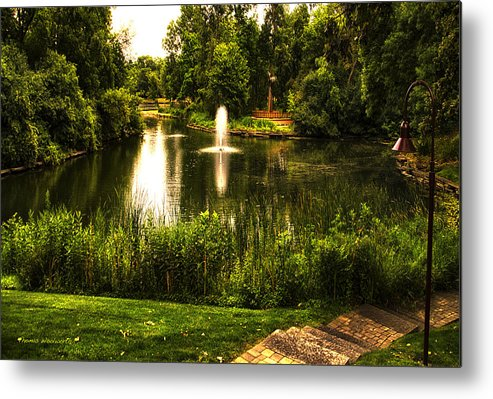 Pond Metal Print featuring the photograph Meet Me By The Fountain by Thomas Woolworth