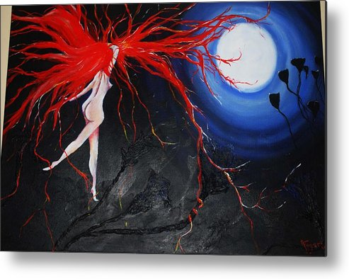 Figurative Metal Print featuring the painting Moonlight Dance by Ann Fogarty