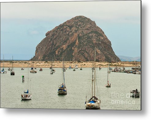 Morro Bay Ca Metal Print featuring the photograph Morro Bay Rock At Dawn by Artist and Photographer Laura Wrede