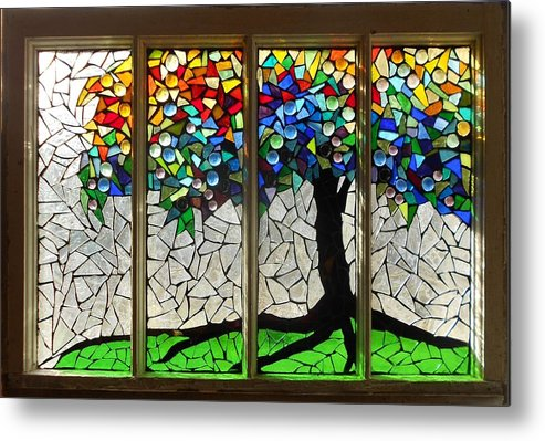 Tree Metal Print featuring the glass art Mosaic Stained Glass - Roots by Catherine Van Der Woerd