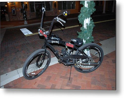 Downtown Ft.myers Metal Print featuring the photograph Motorized Bicycle by Robert Floyd