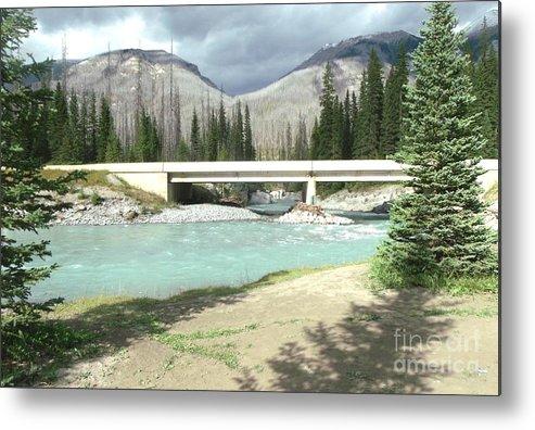 River Flow Metal Print featuring the photograph Mountains Green River Under Bridge by Gail Matthews