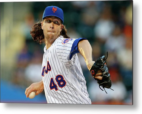 Jacob Degrom Metal Print featuring the photograph New York Yankees V New York Mets by Rich Schultz