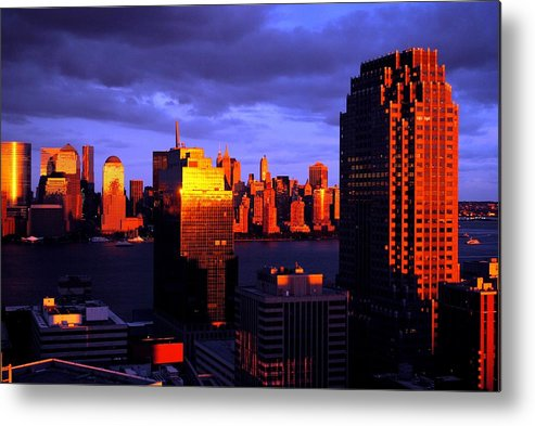 New York New Jersey Sunset Storm Metal Print featuring the photograph Ny Nj Storm by Ron Bartels