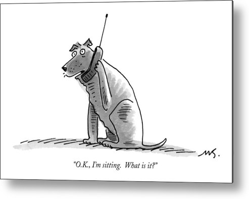 (dog Talking On Cell Phone.) Metal Print featuring the drawing O.k., I'm Sitting. What Is It? by Mick Stevens