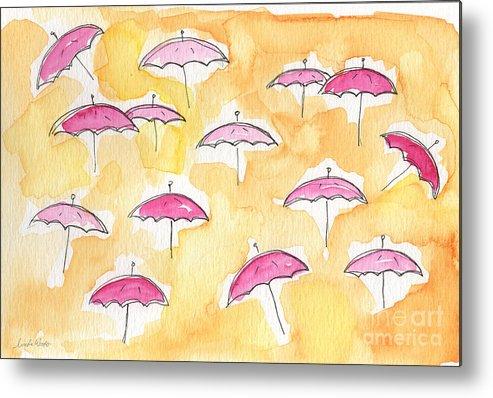 Umbrellas Metal Print featuring the painting Pink Umbrellas by Linda Woods