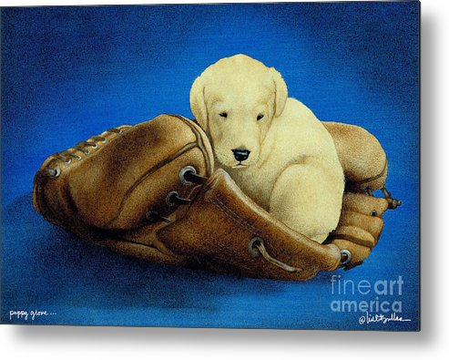 Will Bullas Metal Print featuring the painting Puppy Glove... by Will Bullas