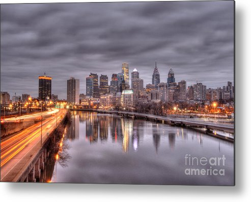 Philadelphia Metal Print featuring the photograph Racing To The City Lights - Philly by Mark Ayzenberg