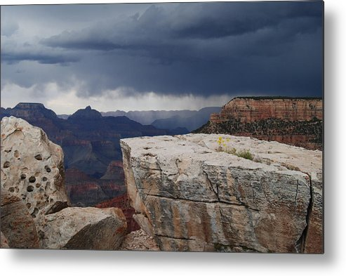 Stormy Day In The Grand Canyon Metal Print featuring the photograph Rain Storm Comming by Volinda Wick
