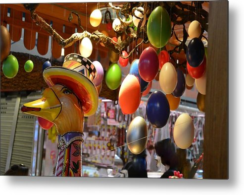 Eggs Market Barcelona Metal Print featuring the photograph Raining Eggs by Michael Reese