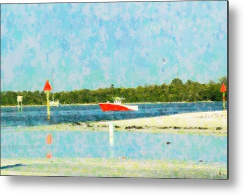 Boat Metal Print featuring the mixed media Red Boat Outing by Florene Welebny