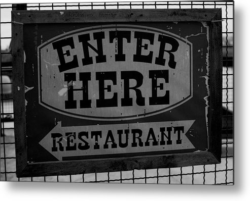 Restaurant Sign Metal Print featuring the photograph Restaurant Sign by Cathy Anderson