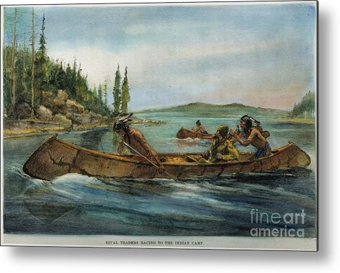 19th Century Metal Print featuring the painting Rival Fur Traders by Granger