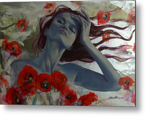 Art Metal Print featuring the painting Romance Echo by Dorina Costras