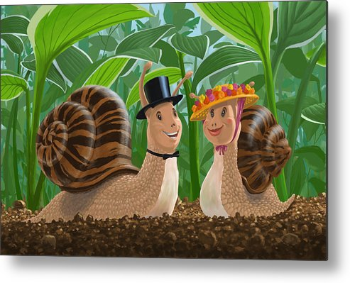 Romance Metal Print featuring the painting Romantic Snails On A Date by Martin Davey
