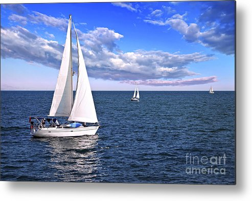 Boat Metal Print featuring the photograph Sailboats At Sea by Elena Elisseeva